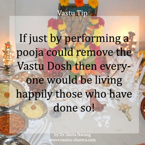 If just by performing a pooja could remove the Vastu Dosh then everyone would be living happily those who have done so!